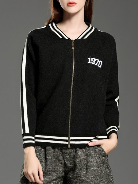 Black Stripes Long Sleeve Letter Embroidered Cropped Jacket