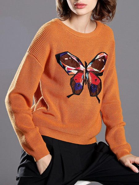 Orange Graphic Casual H-line Appliqued Sweater