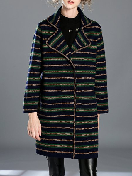 Green Stripes H-line Knitted Pockets Statement Coat
