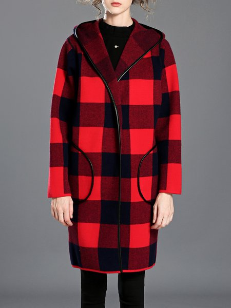 H-line Long Sleeve Hoodie Checkered/Plaid Coat