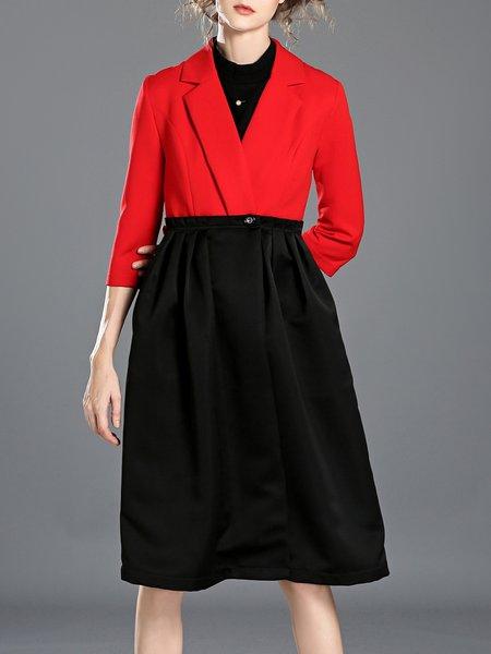 A-line Paneled Pockets Simple 3/4 Sleeve Midi Dress