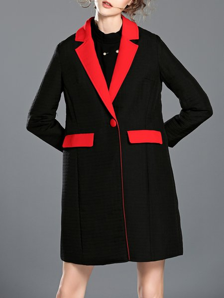 Black Plain Pockets Lapel Color-block H-line Coat