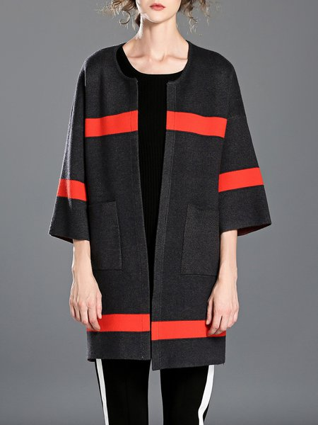 Black Woven Simple Color Block Pockets Simple Coat