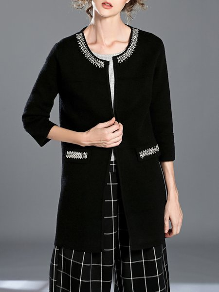 Black Simple Crew Neck Beaded Coat