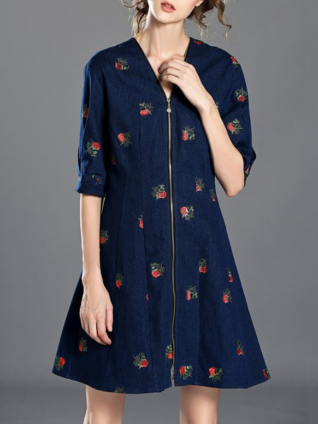 Blue Floral Cotton-blend Half Sleeve Embroidered Midi Dress