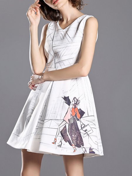 White Sleeveless Printed Folds V Neck Mini Dress