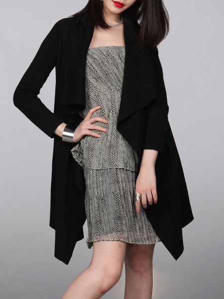 Black Asymmetric Knitted Casual Coat
