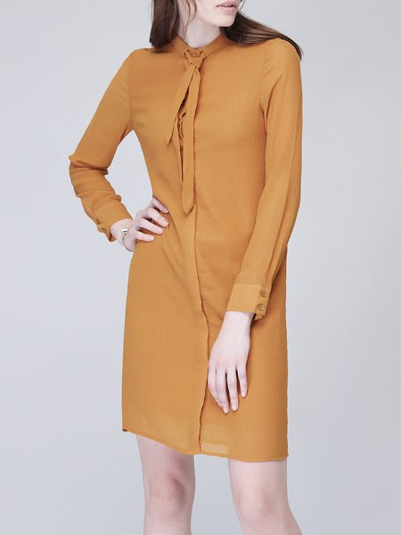 Mustard Simple Buttoned Polyester Mini Dress