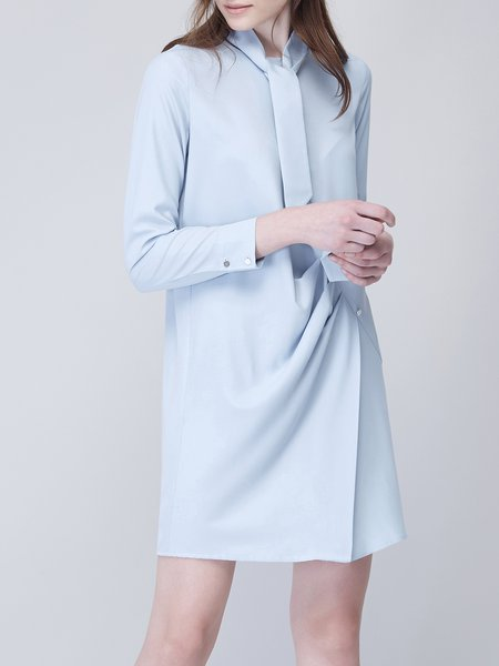 3/4 Sleeve Simple Ruched Crew Neck Buttoned Shirt Dress