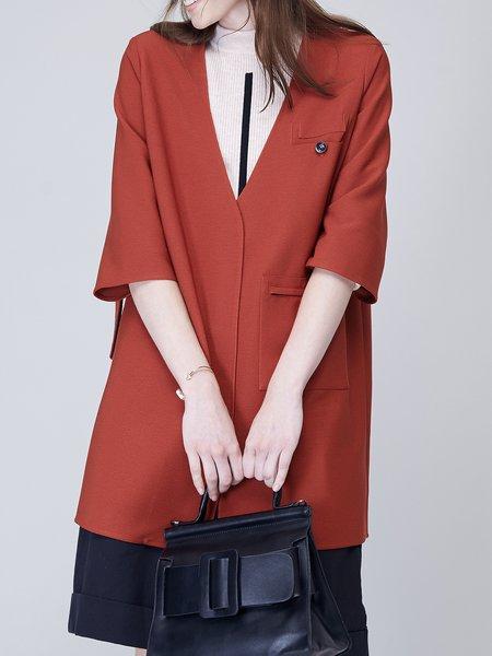 Plain Simple 3/4 Sleeve V Neck Pockets Coat