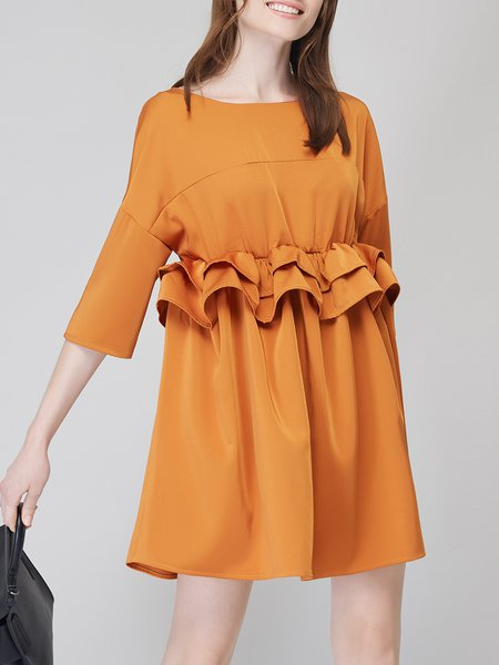 Mustard Plain Shift 3/4 Sleeve Ruffled Mini Dress