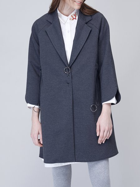 Deep Gray 3/4 Sleeve Lapel Viscose Coat