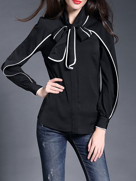 Black Bow Stand Collar Silk-blend Long Sleeve Blouse