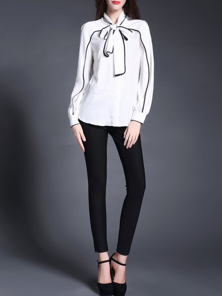 Elegant Stand Collar Long Sleeve Blouse