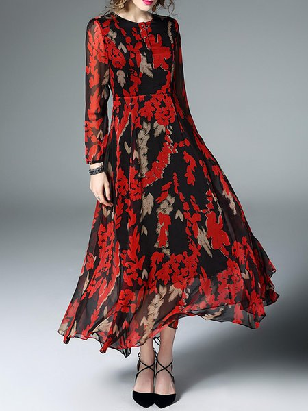 Floral Long Sleeve Swing Casual Silk Maxi Dress