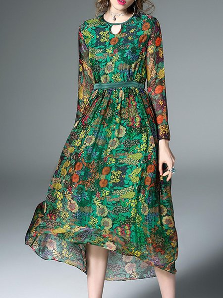 Printed Long Sleeve Floral Silk Maxi Dress
