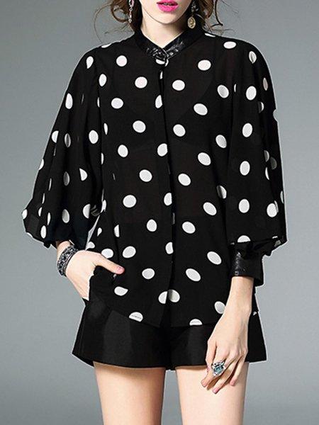 Black Stand Collar H-line Polka Dots Balloon Sleeve Blouse