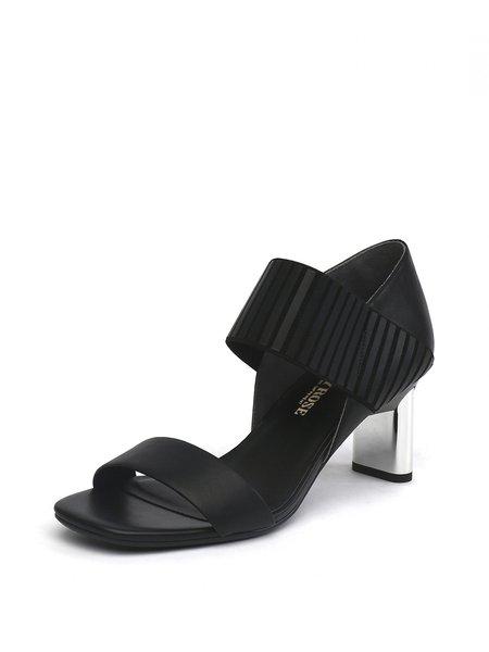 Black Summer Split Joint Dress Sandals