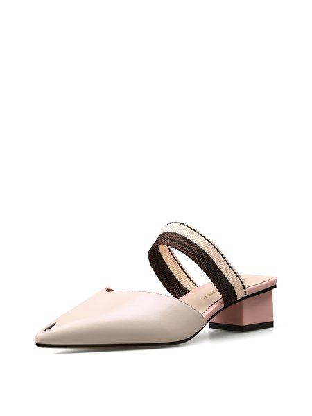 Beige Chunky Heel Summer Split Joint Leather Casual Slippers