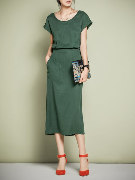 Dark Green Bateau/boat Neck A-line Short Sleeve Pockets Midi Dress