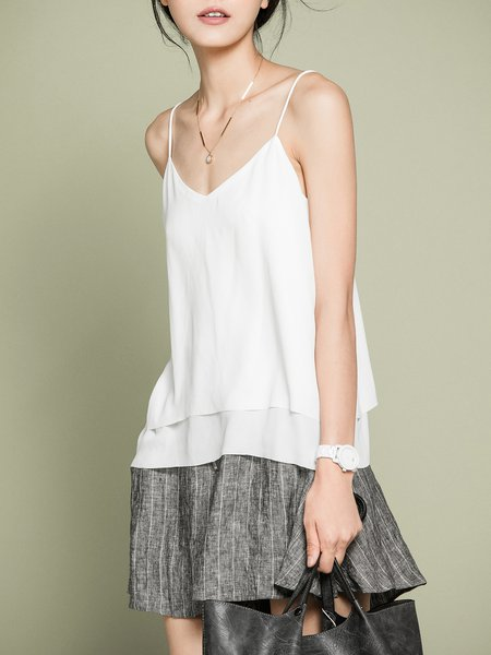 White H-line Viscose Simple Petite Tanks And Cami