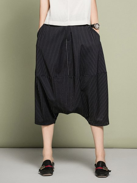 Dark Blue Simple Stripes Pockets Track Pant