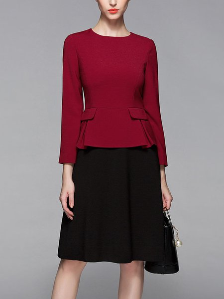 Red A-line Long Sleeve Paneled Crew Neck Midi Dress
