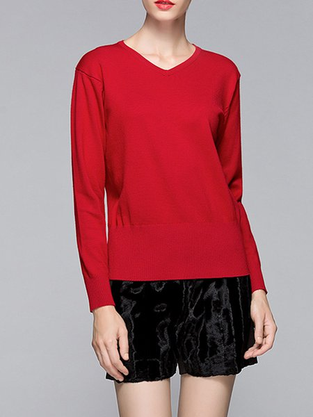 Plain V Neck Basic Knitted Long Sleeve Sweater