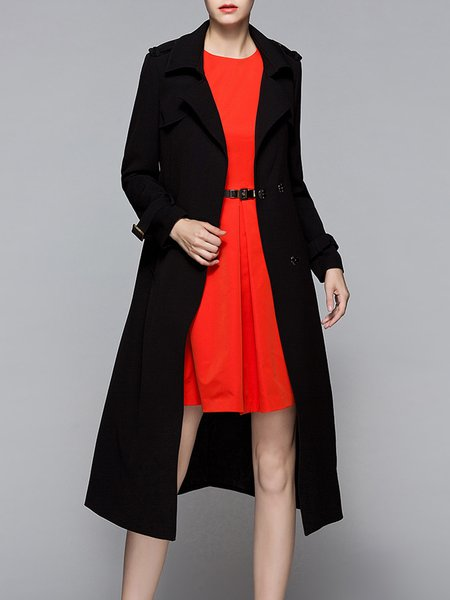 H-line Simple Plain Long Sleeve Trench Coat