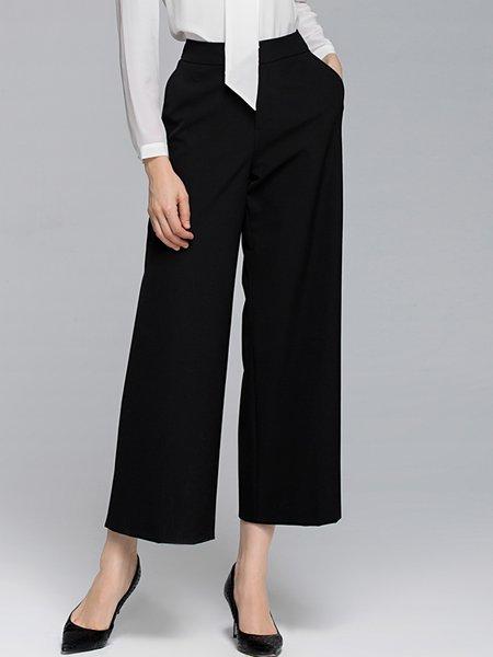 Black Plain Casual Pockets Wide Leg Pants