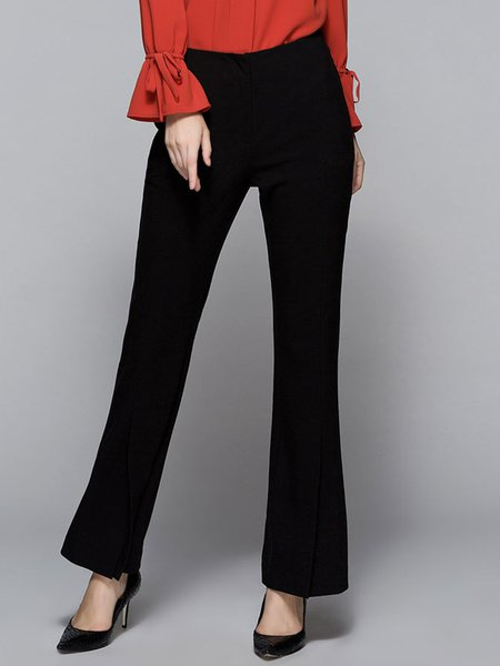 Plain Casual Pockets Flared Pants