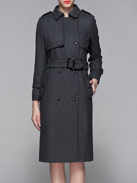 Plain Long Sleeve Pockets Lapel Casual Coat