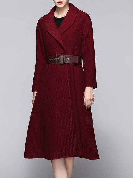 Long Sleeve A-line Lapel Plain Coat