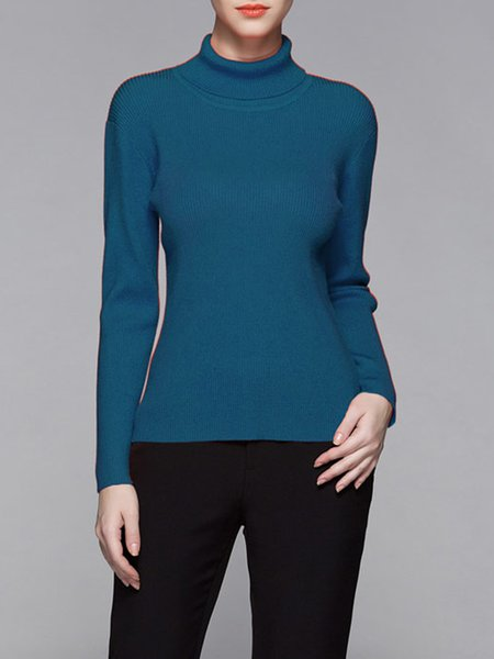 Blue Turtleneck Sheath Casual Ribbed Sweater