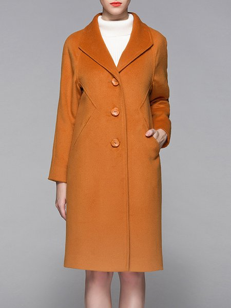 Casual Solid Long Sleeve Coat with Pockets