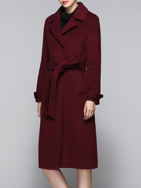 Casual Pockets Plain H-line Coat