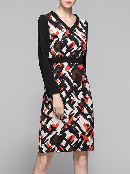 Black Long Sleeve A-line Printed Mini Dress