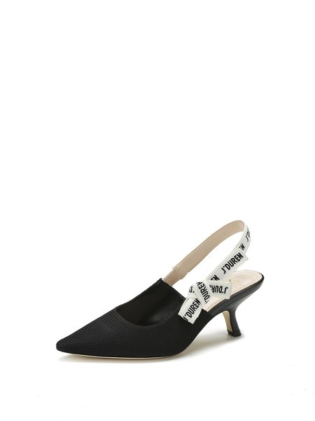 Black Stiletto Heel Sling Back Sandals