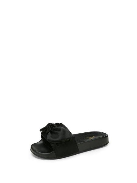 Black Bowknot Flat Heel Silk Slippers