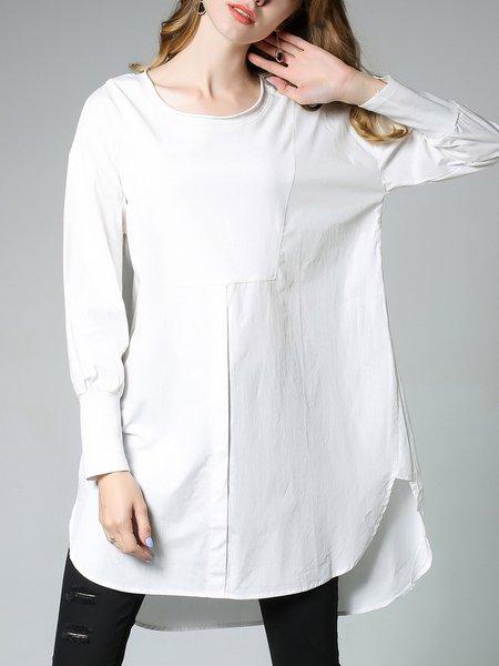 Simple Asymmetric Shift Solid Mini Dress