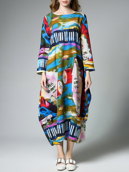 Abstract Boho Cotton Long Sleeve Midi Dress