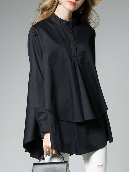 Stand Collar Long Sleeve Casual Solid Cotton A-line Paneled Blouse