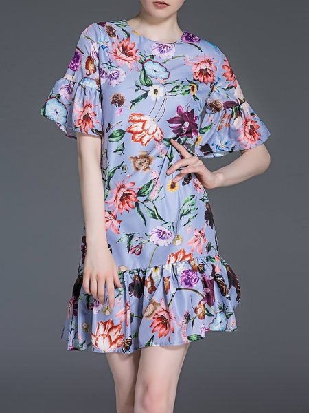 Purple Floral Flounce Polyester Frill Sleeve Mini Dress