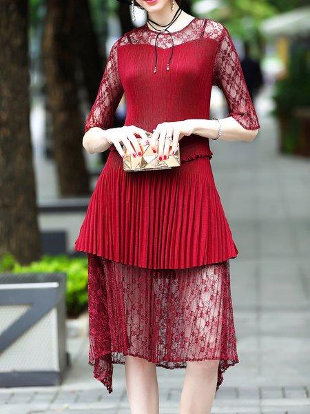 Wine Red Pleated Crew Neck Asymmetrical Half Sleeve Midi Dress