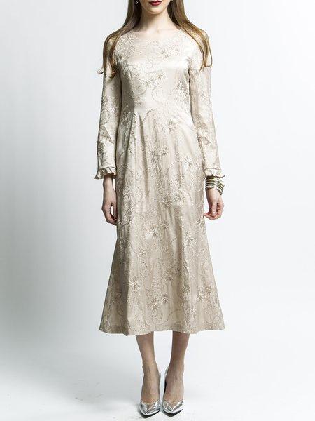 Elegant Long Sleeve Embroidered Midi Dress