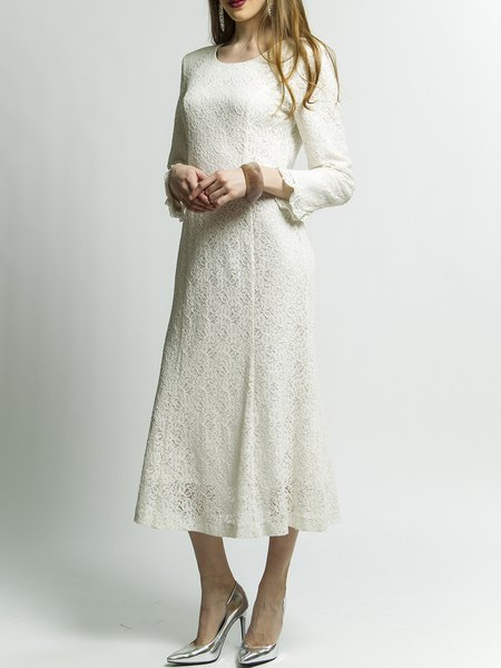 White Lace Crew Neck Floral Long Sleeve Plus Size Midi Dress
