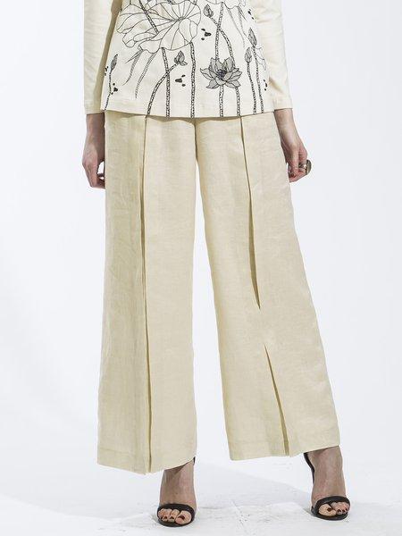 Beige Elegant Linen H-line Plus Size Wide Leg Pants