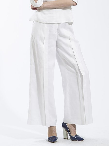 White Elegant Linen H-line Wide Leg Plus Size Pants