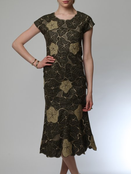 Short Sleeve Polyester Embroidered Elegant Floral Midi Dress