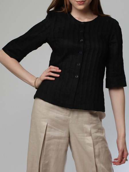 Black Pleated Elegant Plus Size Blouse